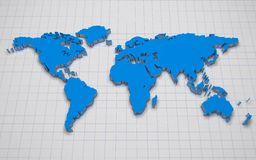 mapa de mundo 3d Fotos de Stock Royalty Free