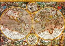 Mapa de mundo da antiguidade Fotografia de Stock Royalty Free
