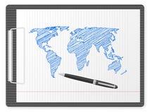 Mapa de mundo da prancheta Fotografia de Stock Royalty Free