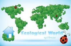 Mapa de mundo de Eco das folhas verdes Fotografia de Stock