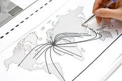 Mapa de mundo de Europa ao mundo imagens de stock