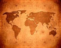 Mapa de mundo de Grunge ilustração stock
