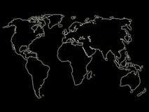 Mapa de mundo de incandescência 2 da noite ilustração stock