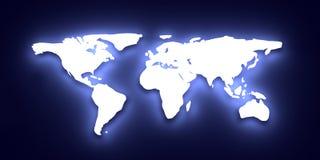 Mapa de mundo de incandescência Fotografia de Stock