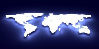 Mapa de mundo de incandescência Imagens de Stock Royalty Free