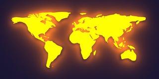 Mapa de mundo de incandescência Foto de Stock