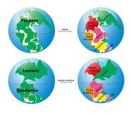 Mapa de mundo de Pangaea, Laurasia, Gondwana Fotos de Stock Royalty Free