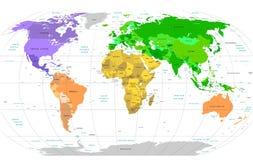 Mapa de mundo detalhado ilustração royalty free