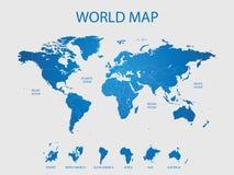 Mapa de mundo detalhado Imagens de Stock