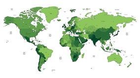 Mapa de mundo detalhado verde Imagens de Stock Royalty Free