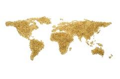 Mapa de mundo do arroz integral Foto de Stock Royalty Free