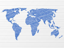 Mapa de mundo do desenho Imagens de Stock