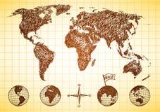 Mapa de mundo do estilo do Doodle com 4 globos Foto de Stock