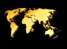 mapa de mundo do ouro 3d Fotos de Stock Royalty Free