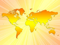 Mapa de mundo do por do sol ilustração stock