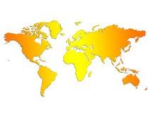 Mapa de mundo do por do sol Foto de Stock Royalty Free
