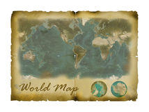 Mapa de mundo do vintage Fotografia de Stock Royalty Free