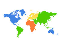 Mapa de mundo dos continentes - colorido Imagens de Stock