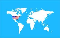 Mapa de mundo dos E.U. Fotos de Stock
