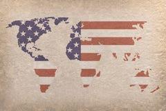 Mapa de mundo dos EUA Foto de Stock