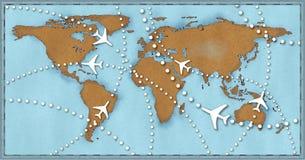 Mapa de mundo dos vôos do curso dos planos da linha aérea Fotografia de Stock Royalty Free
