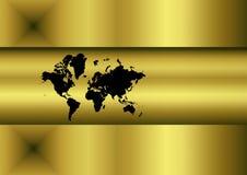Mapa de mundo dourado Imagens de Stock