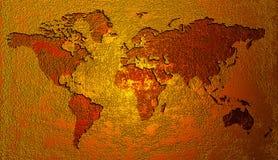 Mapa de mundo dourado Fotos de Stock