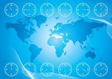 Mapa de mundo e tempo da região Imagens de Stock