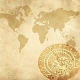 Mapa de mundo e um sundial Fotografia de Stock Royalty Free