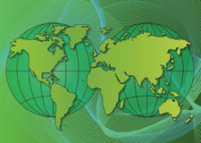 Mapa de mundo ecológico Fotos de Stock Royalty Free