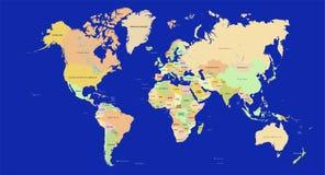 Mapa de mundo em detalhe ilustração do vetor