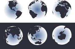 Mapa de mundo em globos de incandescência ilustração stock