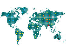 Mapa de mundo esquadrado Foto de Stock Royalty Free