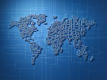 Mapa de mundo futurista do mosaico ilustração do vetor
