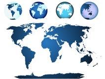 Mapa de mundo, globo ilustrado Fotos de Stock