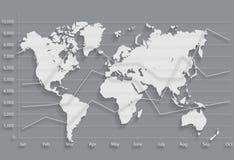 Mapa de mundo gráfico da carta de negócio Imagem de Stock Royalty Free