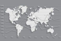 Mapa de mundo gráfico da carta de negócio Fotografia de Stock Royalty Free