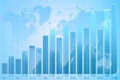 Mapa de mundo gráfico da carta de negócio Imagens de Stock