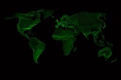 Mapa de mundo Gráfico de computador abstrato do vintage de Fotografia de Stock