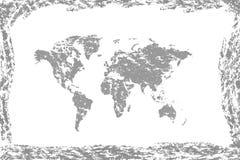 Mapa de mundo de Grunge Mapa velho do vintage do mundo ilustração stock