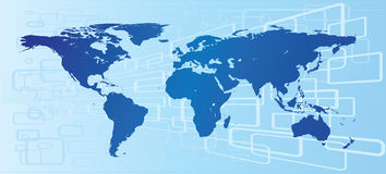 Mapa de mundo ilustrado azul Fotos de Stock