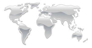 Mapa de mundo líquido do metal Fotografia de Stock