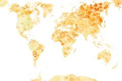 Mapa de mundo manchado Fotos de Stock