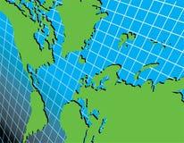 Mapa de mundo na grade em um ângulo ilustração royalty free