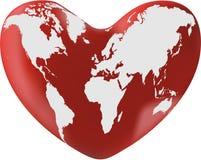 Mapa de mundo no coração Ilustração do Vetor