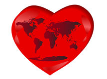 Mapa de mundo no coração ilustração stock