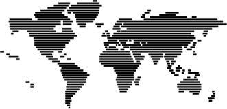 Mapa de mundo no formato do vetor - preto e branco Fotos de Stock Royalty Free