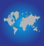 Mapa de mundo no fundo azul Fotografia de Stock