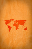 Mapa de mundo no fundo do grunge Fotografia de Stock
