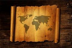 Mapa de mundo no papel do vintage Imagens de Stock